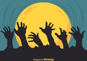 Silueta de las manos del zombi del vector