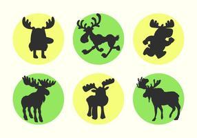 Cartoon Moose Vector Silhouettes