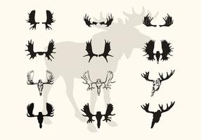 Moose Horns And Skull Vector Silhouettes