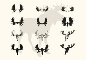 Moose Cuernos Y Cráneo Vector Siluetas