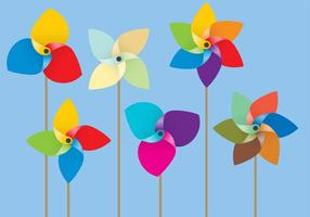 Vectores de molino de viento de papel de colores
