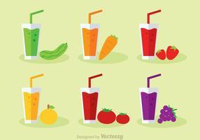 Vegetales Y Jugos De Frutas Vector