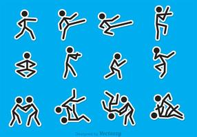 Stick Figure Martial Art Vectors