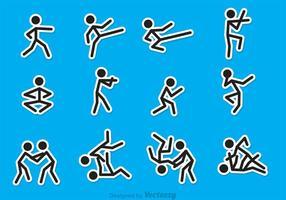 Strichmännchen-Kampfkunst-Vektoren
