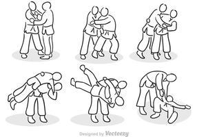 Handdragen Jiu Jitsu vektorer