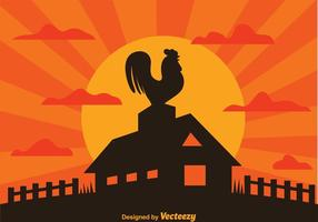 Rooster On Farm Silhouette vector