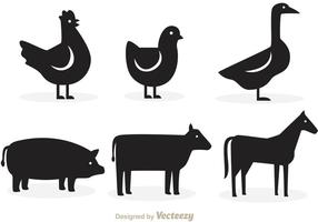 Animales silueta vectores