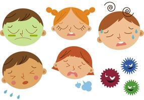 Vecteurs enfants malades