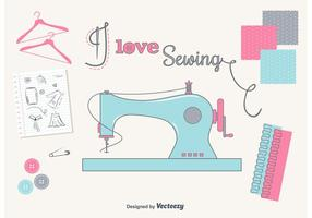 I Love Sewing Set vector