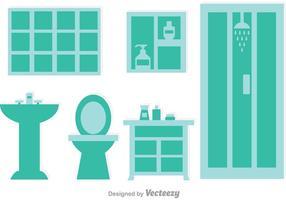 Azul, cuarto de baño, vectores