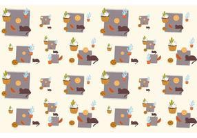 Padrão de plantas, gatos e alimentos