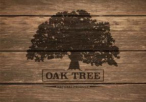 Oak Tree Silhouette On Wooden Background Vector