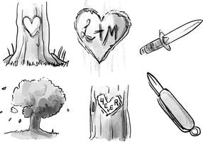 Heart Carved Tree Akvarell Vector Set