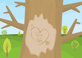 Corazón árbol tallado Vector