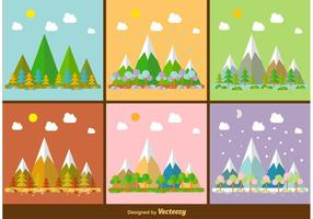 Seasonal Mountain Landscape illustrations