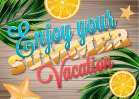 Enjoy Summer Vacations Wooden Background vector