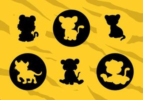 Vektor Silhouettes Of Cartoons Baby Tigers