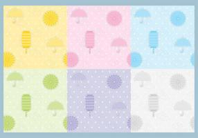 Umbrella and Lantern Pattern Vectors