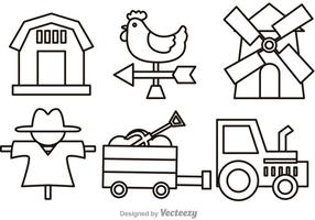 Vektor Bauernhof Umriss Symbole