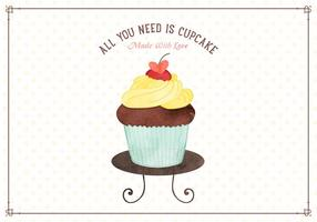Free Watercolor Cupcake Vector Illustration