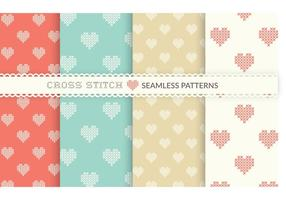 Gratis Cross Stitch Heart Naadloze Vector Patronen