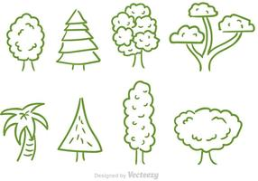 Ensemble de vecteur arbre à griffonnage
