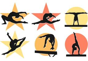 Mulheres Girl Gymnastics Silhouettes Vectors