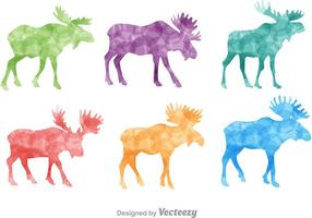Colorful Moose Silhouette Vectors