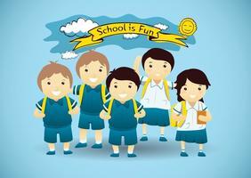 Cute School Children Vector