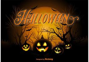 Fundo da noite da abóbora de Halloween vetor