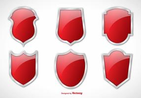 Silver Border Red Vector Shields