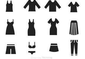 Woman Clothes Black Icons vector