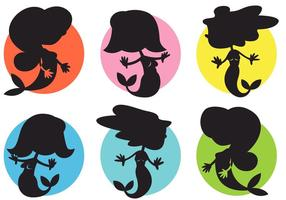Tecknad Mermaids Vector Silhouettes Illustrationer Gratis