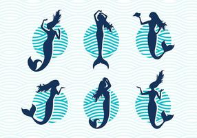 Mermaids Vector Silhouettes Illustrations Free