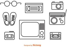 80s Retro Object Outline Icons