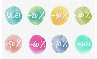 Watercolored Sale Discount Labels vector