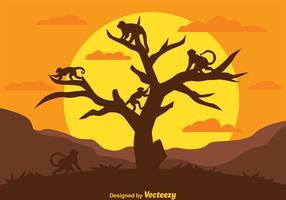 Monkey Silhouettes On A Tree