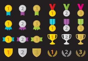 First Place Trophy Vector Icons