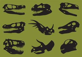 Vecteurs de silhouette de crâne de dinosaure