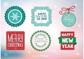 Merry christmas labels and stamps