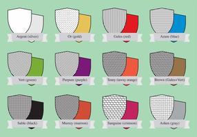 Boucliers de couleurs héraldiques