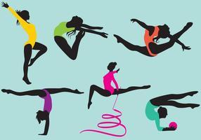 Vectores de la silueta del gimnasta femenino