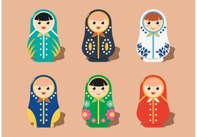 Flat Matryoshka Russische Puppen Vektoren