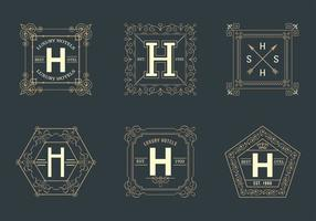 Gratis Retro Square Hotel Logotipos Vector