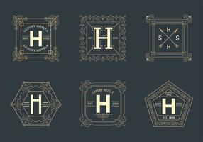 Vecteur libre de logos de l'hôtel carré rétro