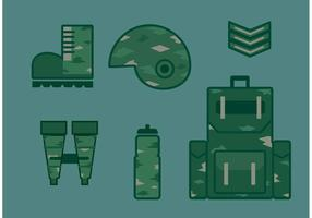 Militar, vector, icono, Conjunto