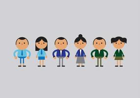 School Children in Uniform Vector Illustrations