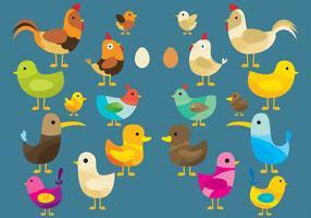 Färgglada vektorfåglar