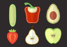 Conjunto de vários vegetais e frutas no vetor