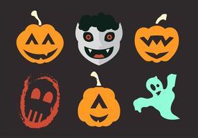 Ilustração vetorial de várias máscaras e trajes de Halloween